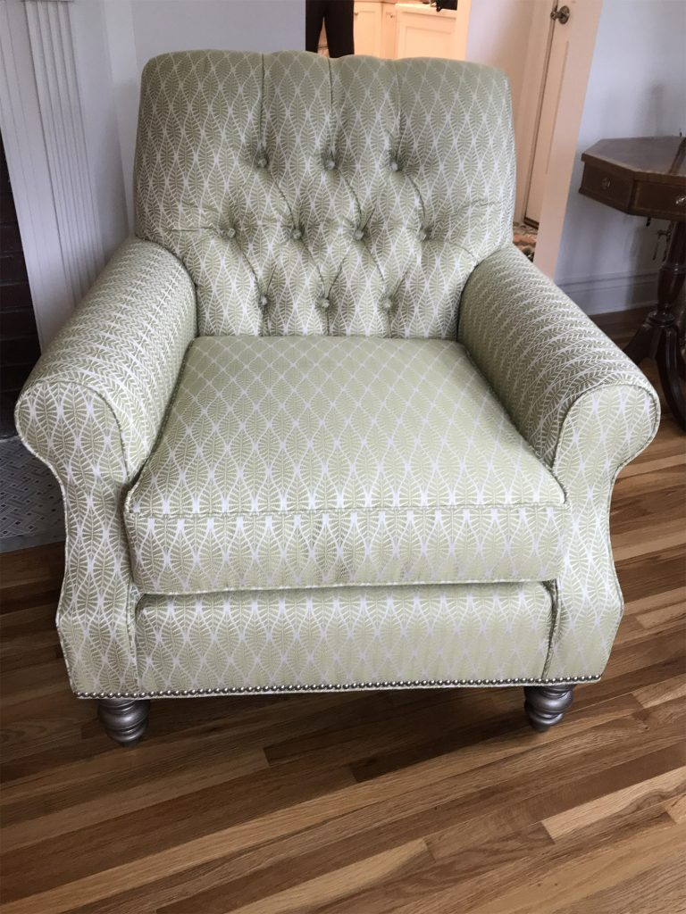 Green diamond fabric armchair
