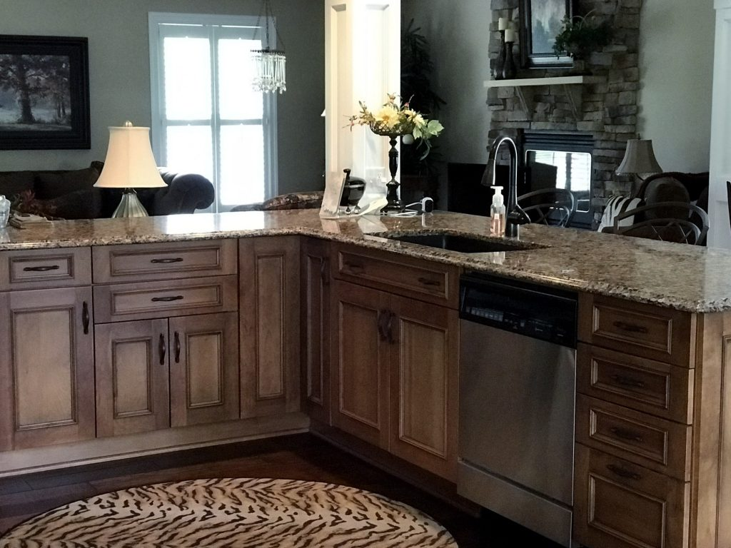 Large kitchen island, tiger rug