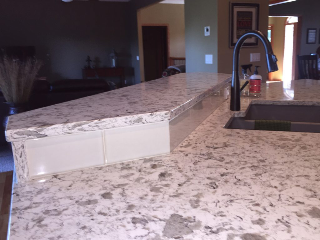 Marble countertop with bar seating