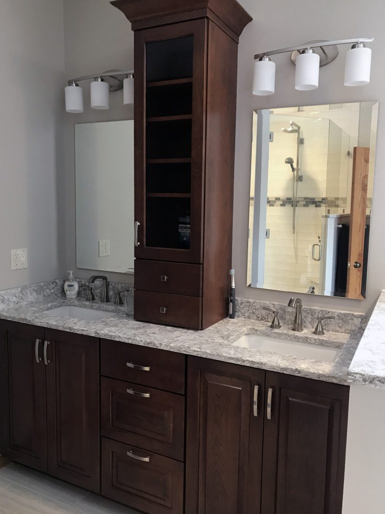 Split double vanity dark cabinets