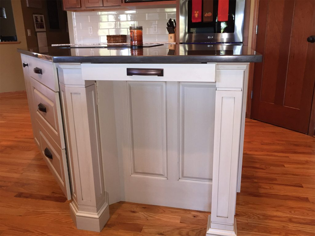 White kitchen island with range