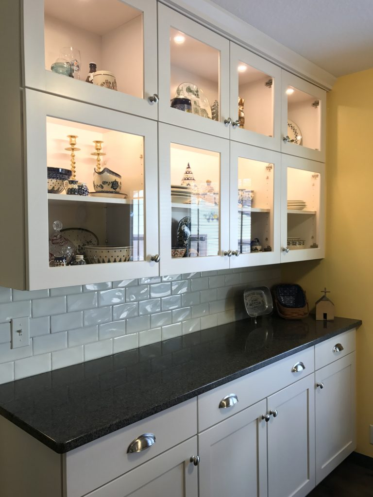 White Shaker display cabinets