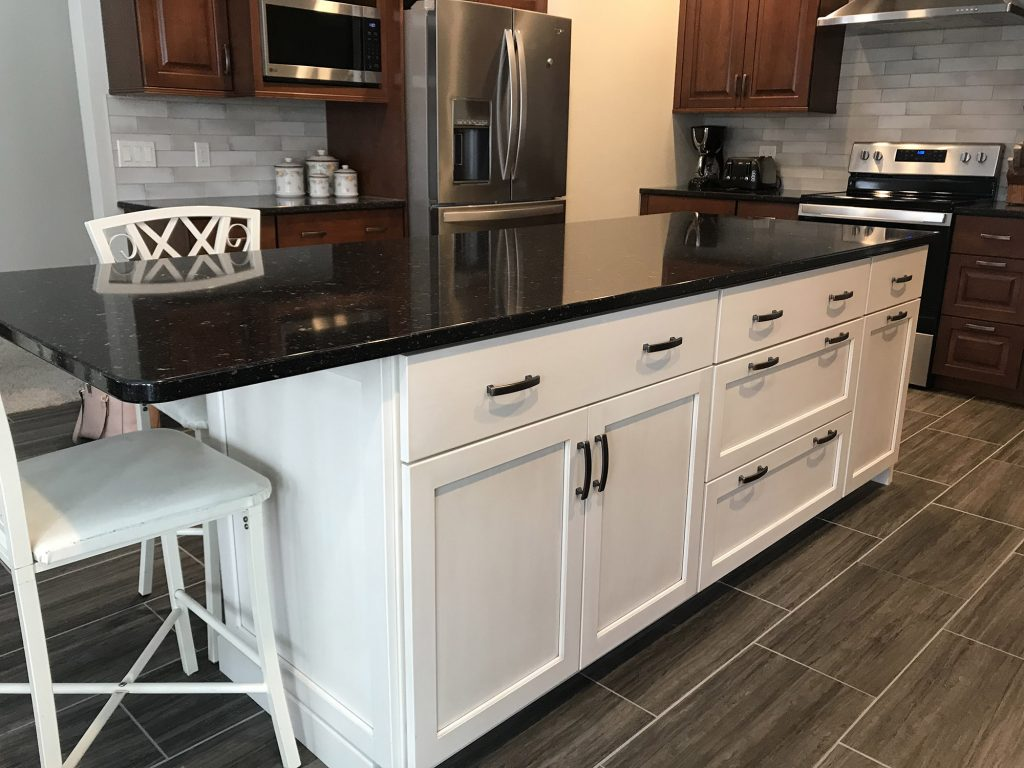 Woodtone kitchen white island