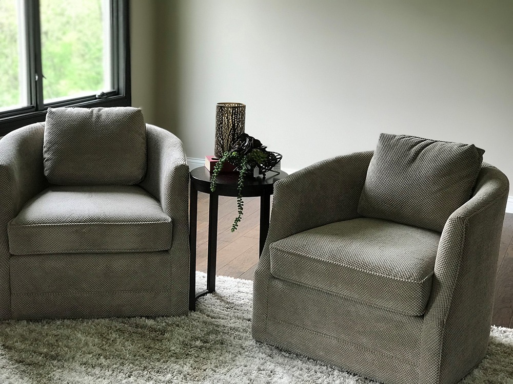 Gray fabric club chairs