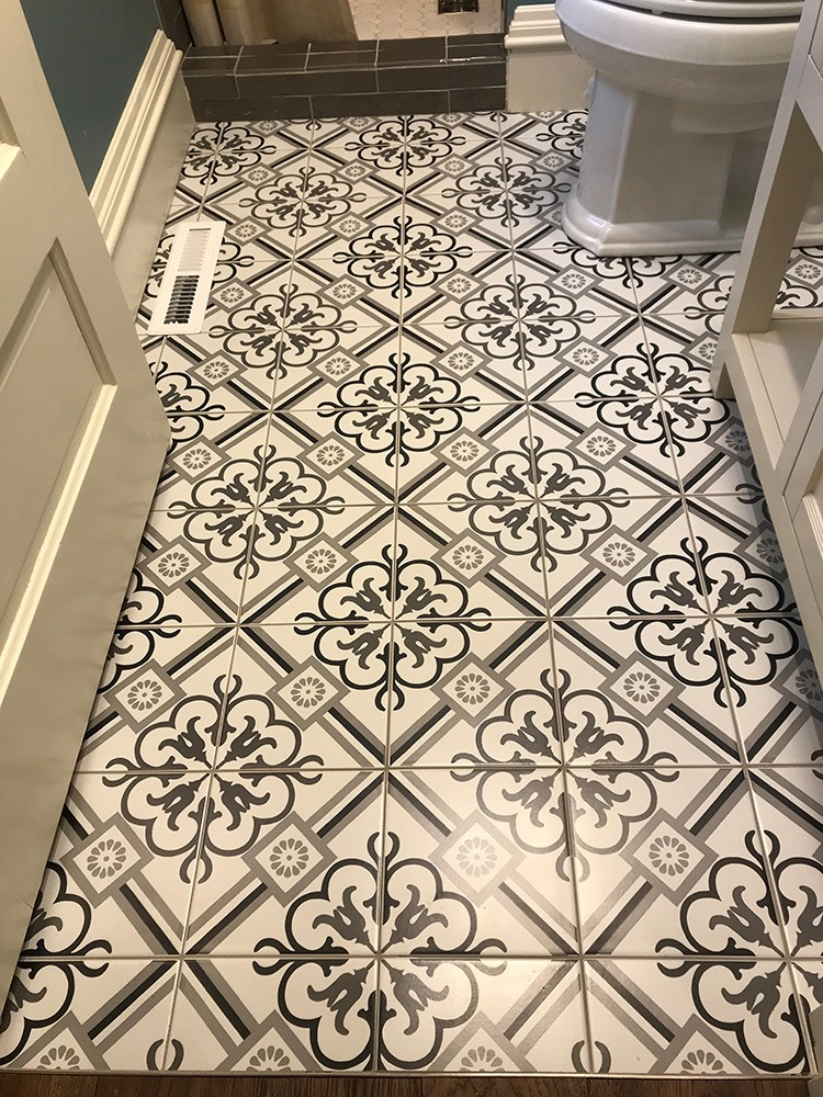 Decorative cement tile floor