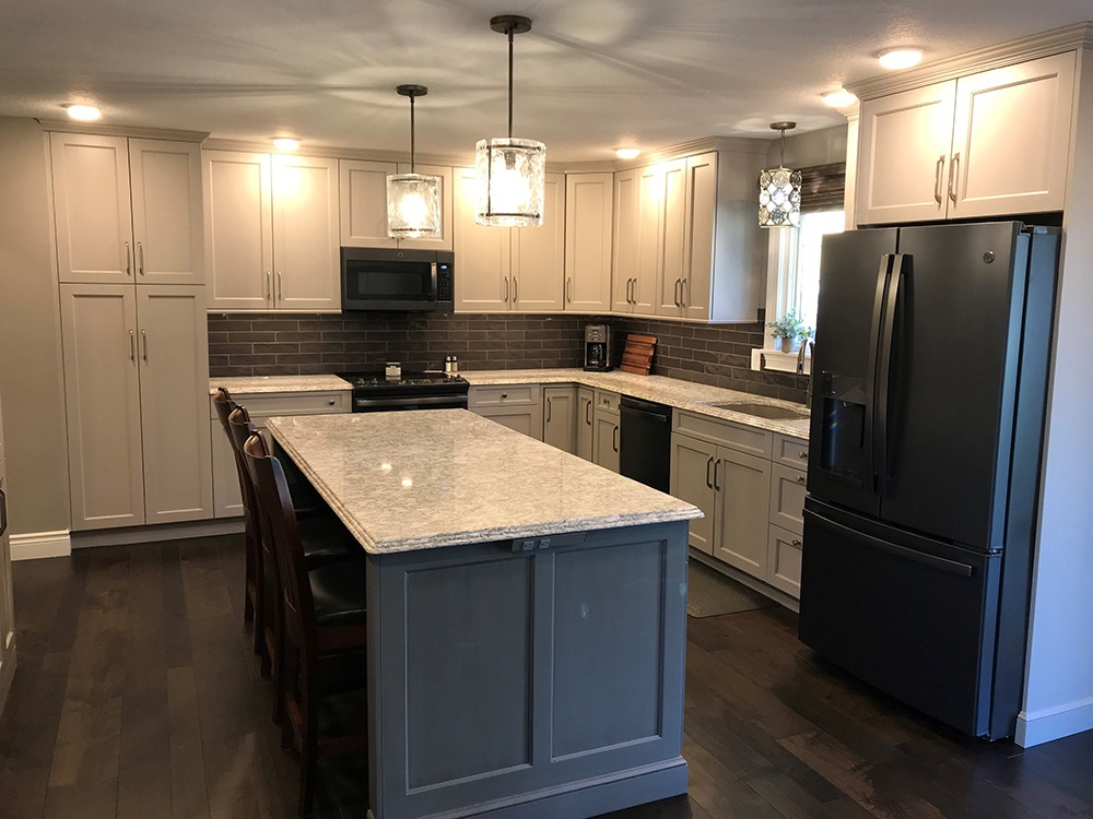 White and gray kitchen, large island