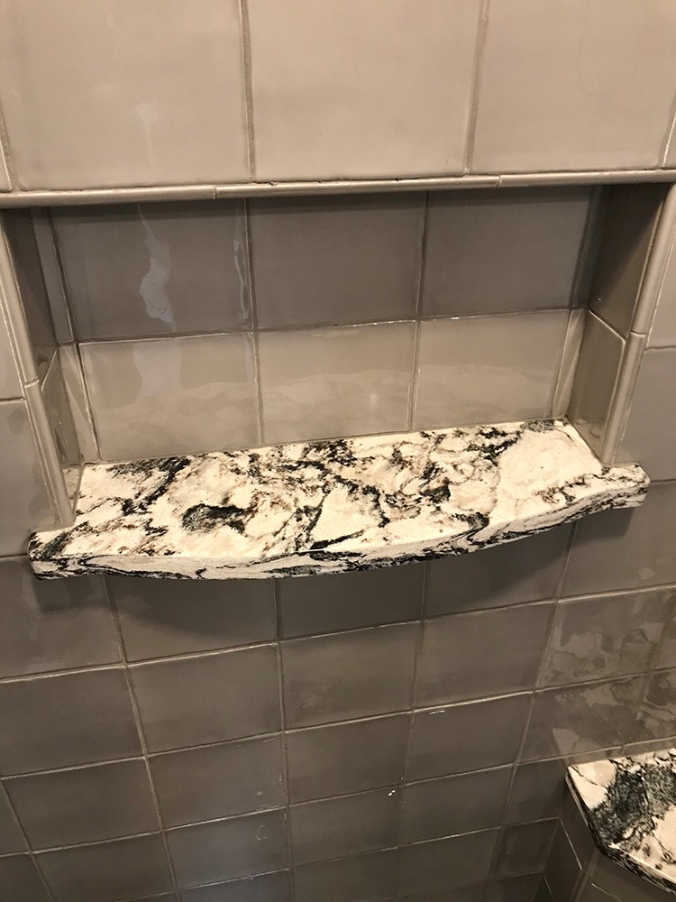 Gray glass tile, marble soap dish