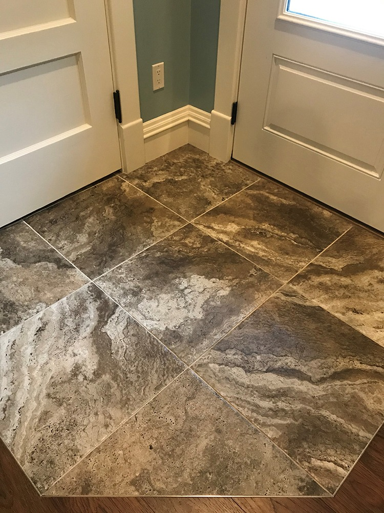 Square stone tile entry