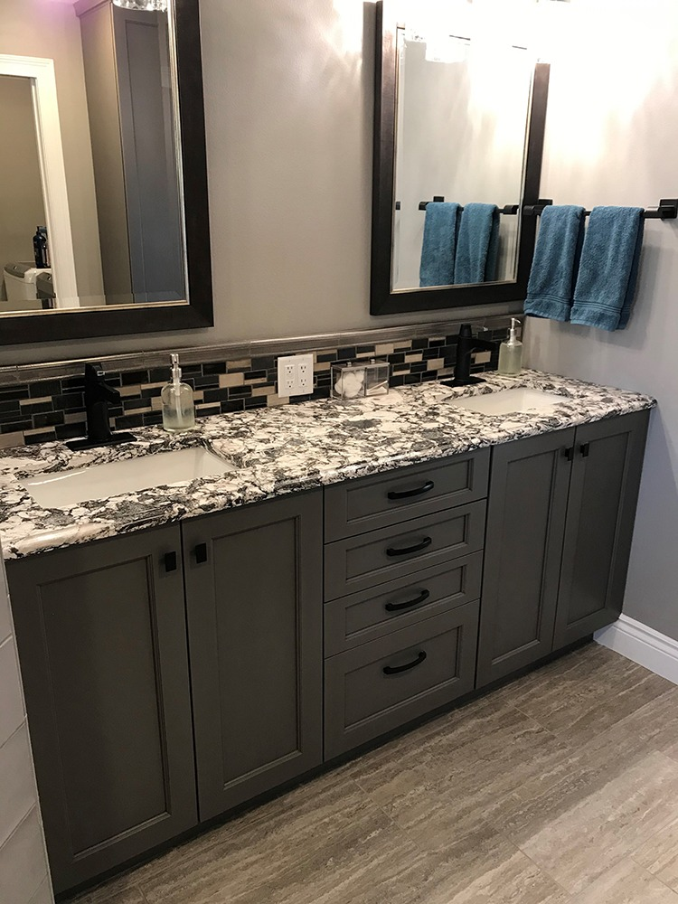 Gray double bathroom vanity